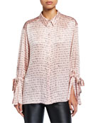 cinq a sept Elisia Printed Silk Button-Front Top