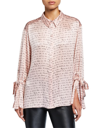 Elisia Printed Silk Button-Front Top