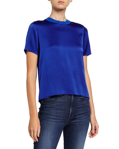 Ali Crewneck Short-Sleeve Silk Satin Tee