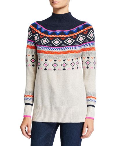Fair Isle Mock-Neck Cashmere Sweater
