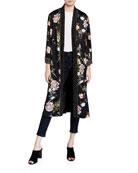 Johnny Was Floral Print Velvet Mix Kimono