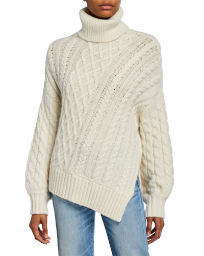Nevelson Asymmetric Cable-Knit Sweater