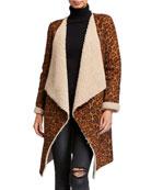 Alberto Makali Leopard Print Faux Shearling Long Easy