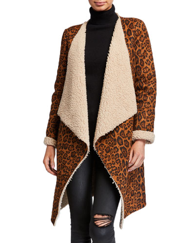 Leopard Print Faux Shearling Long Easy Jacket