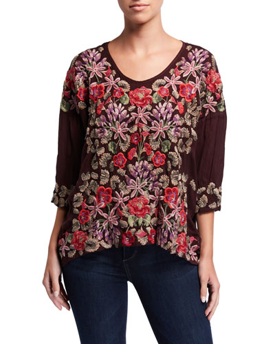 Leopard Rose Embroidered 3/4-Sleeve Blouse