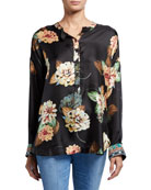 Johnny Was Corey Floral Print Long-Sleeve Silk Boxy