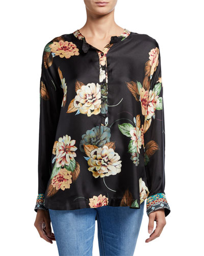 Corey Floral Print Long-Sleeve Silk Boxy Top