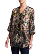 Johnny Was Corin Floral Print Button-Down Silk Top