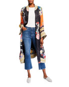 Johnny Was Fiori Reversible Floral Print Button-Front Long