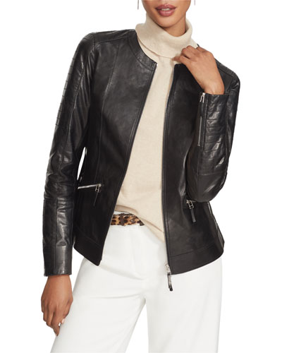 Everly Zip-Front Glazed Weightless Quilted Lambskin Jacket