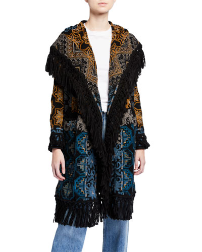 Plus Size Tokley Embroidered Hoodie Jacket with Fringe Trim