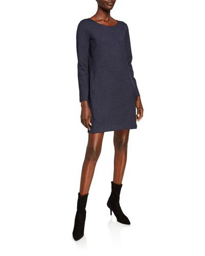 Scoop-Neck Long-Sleeve Panel Knit Dress