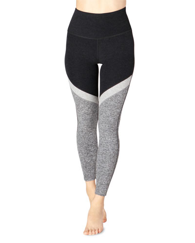 Tri-Panel Space-Dye High-Waist Midi Leggings