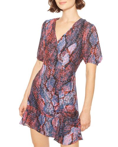 Soliana Snake-Print Short Flounce Dress