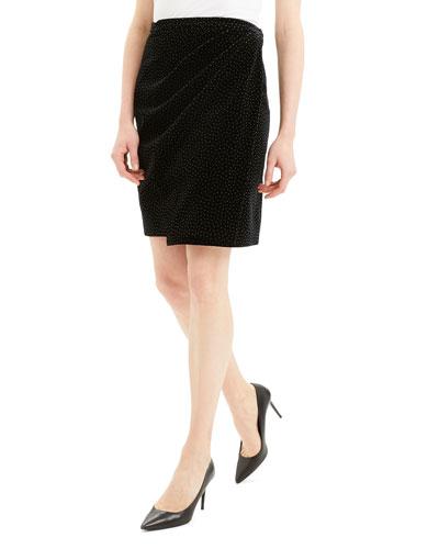 Dot Pleated Wrap Skirt