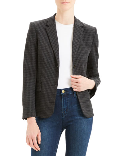 Houndstooth Shrunken Two-Button Jacket