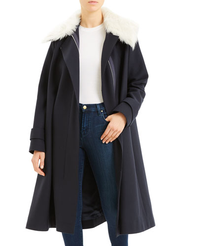 Wool Cloak Coat with Shearling Trim