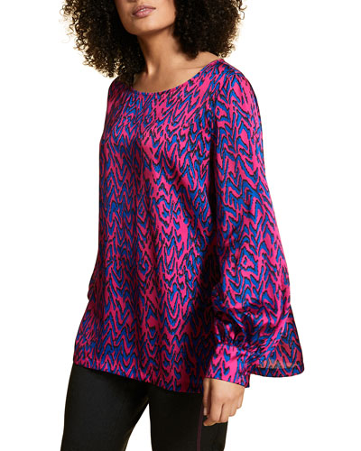 Plus Size Abstract Printed Satin Long-Sleeve Blouse