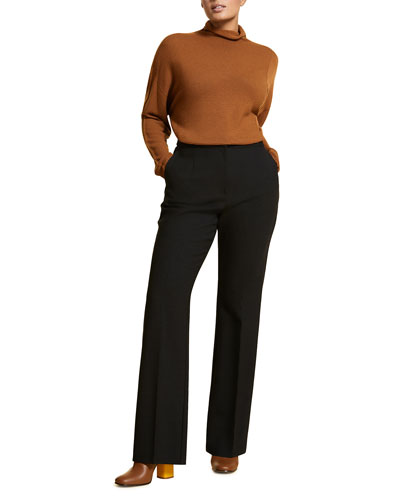 Plus Size Straight-Leg Wool Crepe Trousers