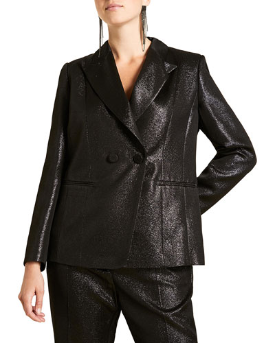 Plus Size Metallic Crepe Fitted Two-Button Jacket
