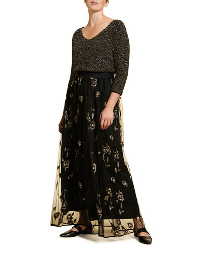 Plus Size Embroidered Long Tulle Skirt with Paillettes