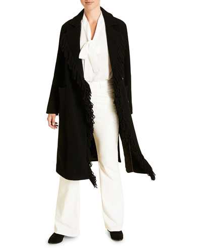 Plus Size Wool Coat with Fringed Edges & Patch Pockets