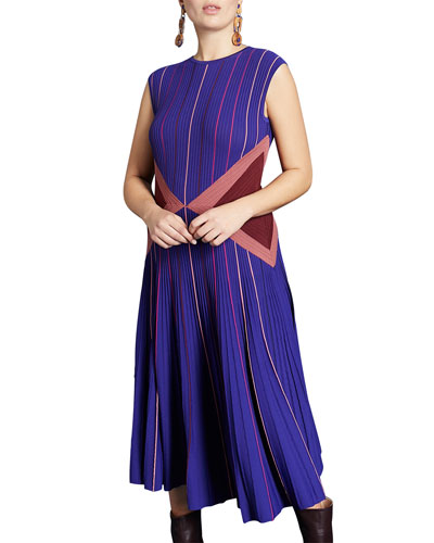 Plus Size Striped Crewneck Sleeveless Pleated Midi Dress