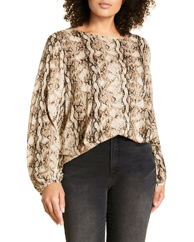 Plus Size Snake-Print Crewneck Long-Sleeve Top w/ Side Strings