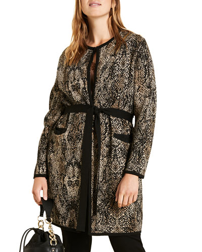 Plus Size Jacquard Belted Long Cardigan with Side Slits