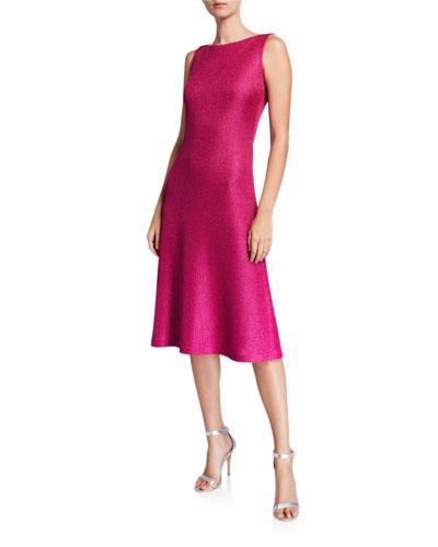 Bateau-Neck Sleeveless Textured Metallic Inlay Knit Dress