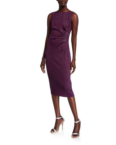 Bateau-Neck Sleeveless Sequin Detail Milano Knit Dress
