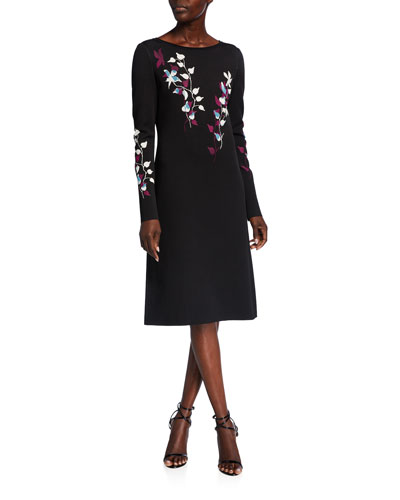 Placed Floral Jacquard Bateau-Neck Long-Sleeve A-Line Dress