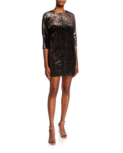 Foiled Jersey Long Sleeve Dolman Shift Dress