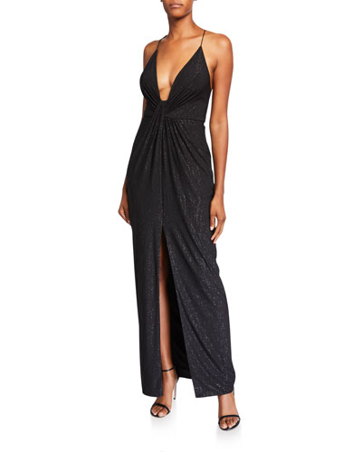 Draped Metallic Jersey Deep V-Neck X-Back Gown with Slit
