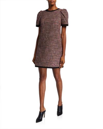 puff-sleeve tweed shift dress