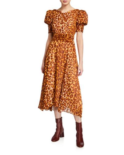 panthera clip dot puff-sleeve dress
