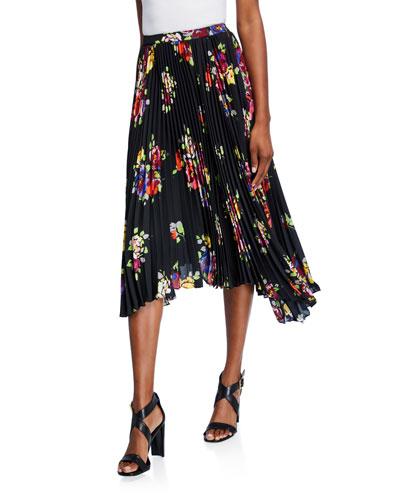 rare roses pleated asymmetric midi skirt