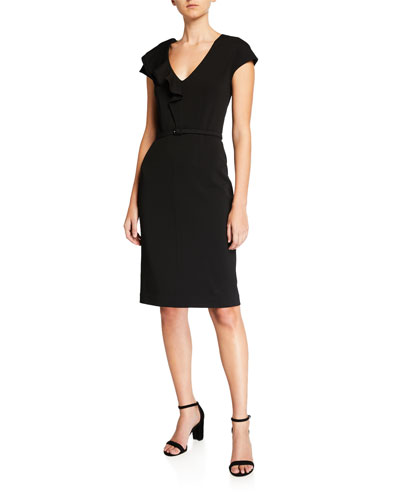 v-neck cap-sleeve ruffle matte crepe sheath dress