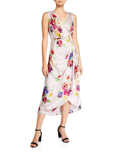 rare roses sleeveless silk midi wrap dress