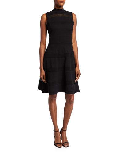 mock-neck sleeveless mesh panel sweater dress