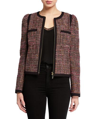 tweed puff-sleeve zip-front jacket