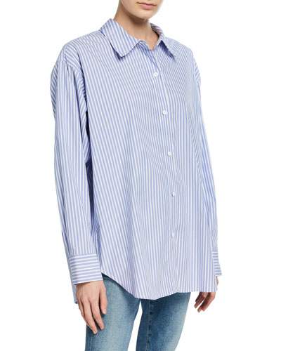 Relaxed Striped Button-Down Shirt