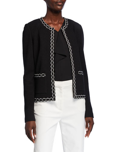 Pebbled Textured Knit Jacket with Decorative Trim