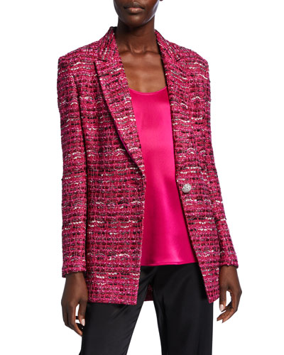 Opulent Textured Tweed Knit Jacket w/ Notch-Collar