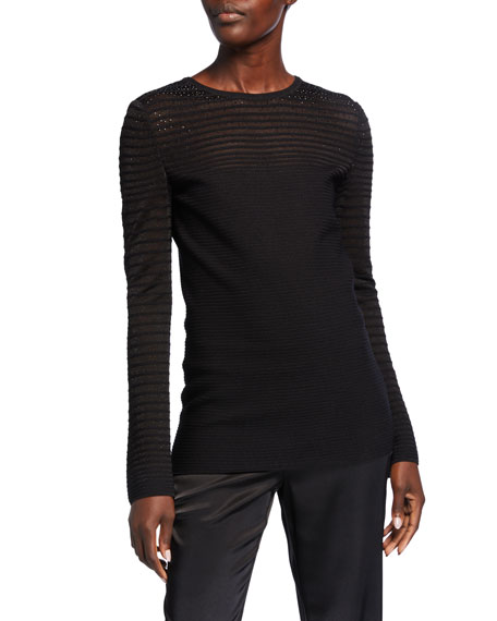 St. John Collection Degrade Ottoman Shimmer Knit Sweater w/ Sequins