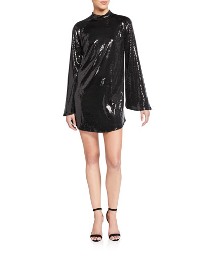 Ariana Sequined Flare-Sleeve Cocktail Dress