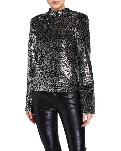 Freddie Leopard Sequin Top