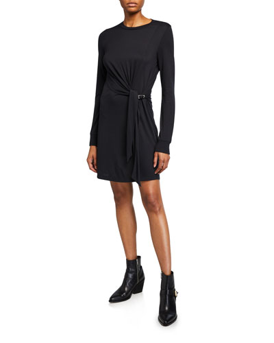 Shaw Draped Long-Sleeve Midi Dress