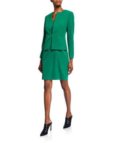 Two-Piece Stretch Crepe Seam Detail Jacket & Sheath Dress Set