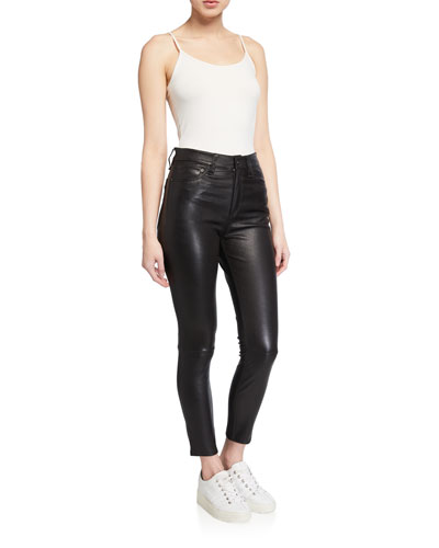 Nina Leather High-Rise Pants